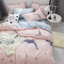 简约北欧春夏全棉四件套1.8m床上用品四件套纯棉1.5m床笠被套床单