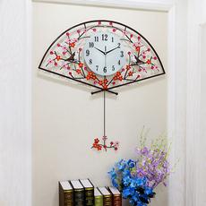 恋妆钟表扇形挂钟客厅创意石英钟家用静音夜光大挂表现代简约时钟