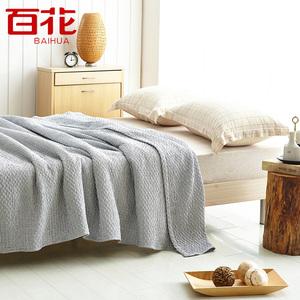 秋冬百花毛巾被纯棉毛毯被子简约 单人双人纱布四季被毛巾毯盖毯