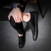 男鞋春夏2018新款时尚纯色系带帆布鞋男韩版潮流小黑鞋男板鞋子男