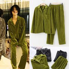 韩国BF风金丝绒情侣宽松睡衣男女休闲两件套装秋冬长袖加厚家居服