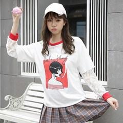 春季女装新款韩版时尚蕾丝长袖拼接假两件撞色圆领印花短袖T恤衫