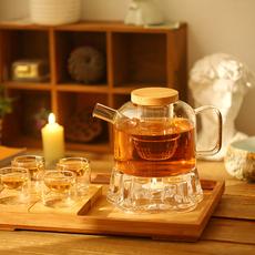 自然格调│高硼硅玻璃 花茶壶 绿茶壶 加热煮茶玻璃茶具套装 包邮