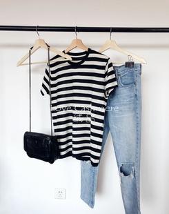Love绒品 天使系列 舒适柔滑棉羊绒 女款条纹短袖针织衫