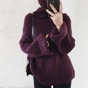 冬季韩版百搭外穿高领宽松棒针粗毛线慵懒长袖套头保暖加厚毛衣女