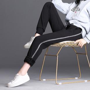 黑色加绒裤子女春秋冬新款薄款长裤韩版宽松休闲裤显瘦束脚运动裤