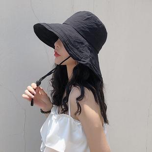 遮阳帽子女防晒渔夫帽太阳帽出游度假纯棉大沿纯色高品质户外盆帽