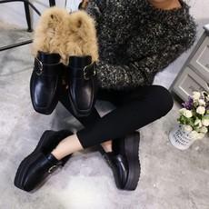 韩版松糕鞋女秋厚底单鞋小黑鞋冬季加绒兔毛棉瓢鞋小皮鞋女毛毛鞋