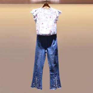 裙裤套装女夏时尚2018新款蕾丝绣花上衣微喇阔腿牛仔裤气质两件套