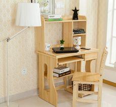 实木电脑桌简约现代书桌松木电脑桌台式松木书桌儿童桌写字桌书架