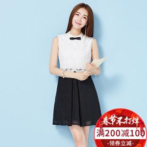 2018新款女装春装蕾丝连衣裙无袖假两件a字裙韩版网纱修身短裙