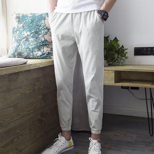 棉麻裤子男宽松九分裤夏季薄款米白色小脚裤束脚裤休闲裤修身潮流