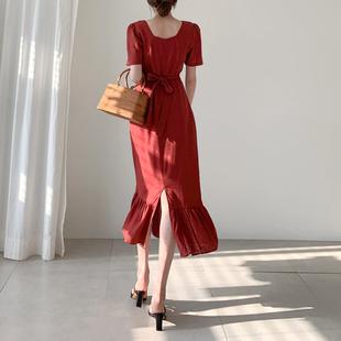 氣質復古方領棉麻荷葉邊魚尾裙子2019新款女夏修身顯瘦收腰連衣裙