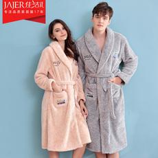 情侣睡袍睡衣女士秋冬季法兰绒加厚加长款珊瑚绒男士冬天浴袍浴衣