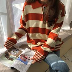 2018春装韩版宽松撞色条纹长袖针织衫上衣复古百搭套头毛衣外套女
