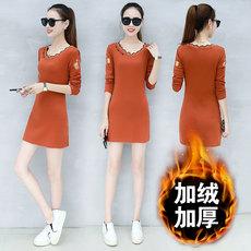 中长款长袖t恤女士2017秋装新款韩版上衣服冬季百搭加绒打底衫潮