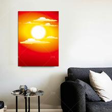 饰画风景卧室画竖联风水画风水大师推荐 太阳壁画红底日出挂画装