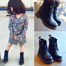 儿童鞋女童马丁靴冬季新款真皮短靴男童靴子秋冬加绒女大童皮靴棉