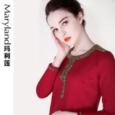 玛利莲2016秋冬装新款大码女装时尚圆领宽松长袖直筒连衣裙62150