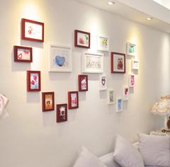 实木照片墙 浪漫爱心形创意相框墙组合 19框心形相片墙包邮送画芯