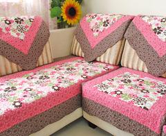 田园生活 玫红大花全棉布艺沙发垫防滑沙发坐垫沙发巾沙发套罩