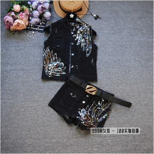 时尚套装女春夏新款无袖亮片绣花牛仔马甲外套+短裙裤两件套装潮