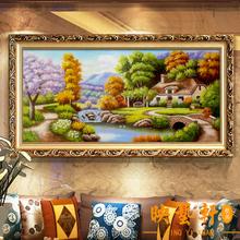 饰画客厅沙发墙画玄关壁画欧式油画大幅喷绘风景托马斯 家居装