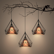 餐厅吊灯三头创意北欧客厅铁艺钻石吊灯个性吧台现代简约餐厅灯饰