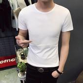 黑白色短袖 韩版 圆领上衣服半袖 打底新款 夏季男装 t恤白色纯色修身