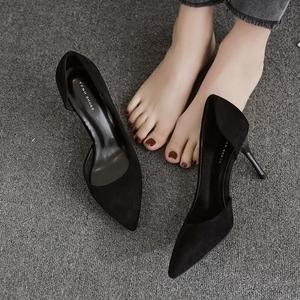 黑色絨面高跟鞋女細跟尖頭女單鞋側空百搭2018 span class=h>夏 /span圖片
