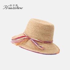 华子秀 韩式淑女拉菲草草帽春夏新款海滩遮阳宽檐草帽可折叠携带