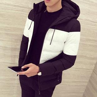 冬季男士棉衣2016新款加厚短款棉袄拼接连帽外套韩版潮男青年棉服