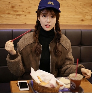 2017韩版冬季宽松显瘦鹿皮绒羊羔毛外套女短款加绒加厚棉衣棉服