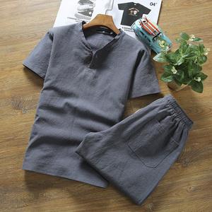 休闲套装亚麻男士春夏季薄款v领棉麻短袖T恤青年大码体恤衣服男潮T恤