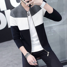 春季男士夹克薄款立领毛衣开衫线衣修身外套青年针织衫男装韩版潮