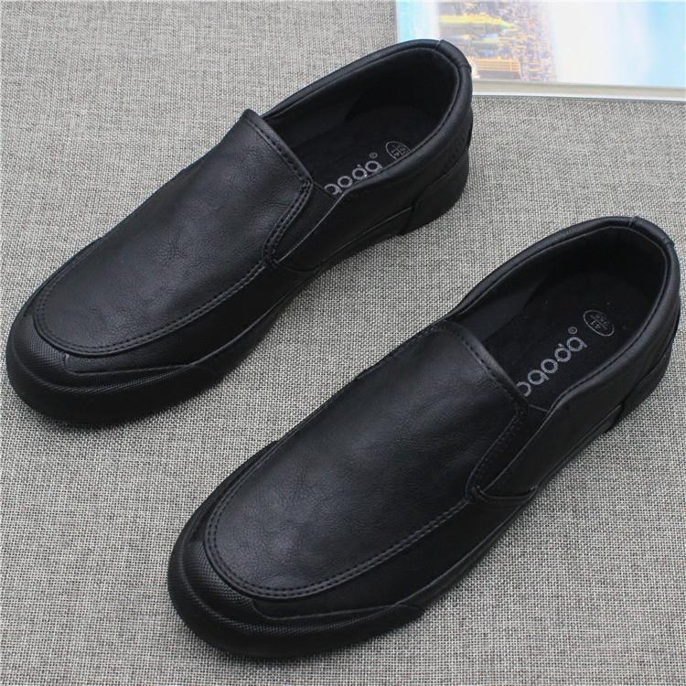 新款低帮一脚蹬休闲男皮鞋秋季简约百搭套脚男鞋黑色商务工作鞋子男鞋