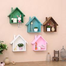 饰品隔板墙壁饰壁挂置物架 美式乡村复古彩色小房子家居房间墙上装
