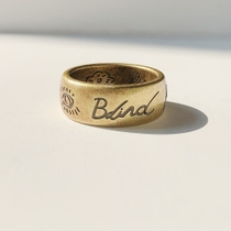 17FW Blind for Love Ring 无畏的爱 眼心花鸟字母钛钢情侣宽戒指