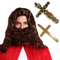 万圣节道具基督教话剧圣诞狂欢复活节项链耶稣胡子假发修女十字架