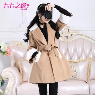 七七之缘2016冬装新款韩版女装 驼色拼接白色修身毛呢外套大衣