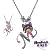 Monchhichi萌趣趣饰品相思猫不锈钢隔圈T恤长项链女生日礼物N065