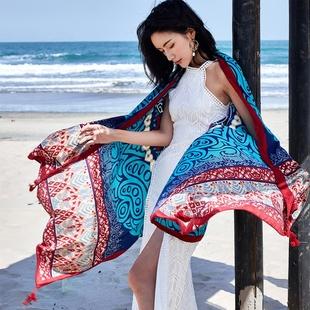 奈良度假搭配 棉麻春夏民族风超大防晒围巾披肩女夏 外搭海边海滩