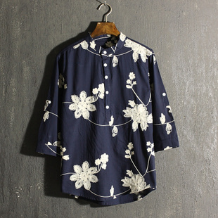 夏季新款男士立领刺绣花衬衫复古中国风亚麻七分袖衬衣男潮流男装