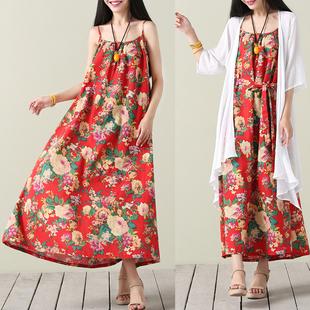 民族风女装大码收腰长裙200斤胖mm2018夏装新款棉麻吊带连衣裙子