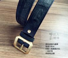 黑色英国进口马缰革38mm宽度透染纯手工定做植鞣革商务休闲皮带