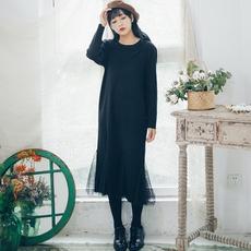 安小落蕾丝拼接下摆鱼尾裙文艺清新针织裙中长款显瘦打底连衣裙女