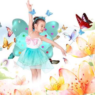 六一节儿童舞台表演道具女童玩具网纱短裙天使双层蝴蝶翅膀四件套