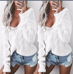 knitted sweater Women brand White pullovers knitwear Autumn