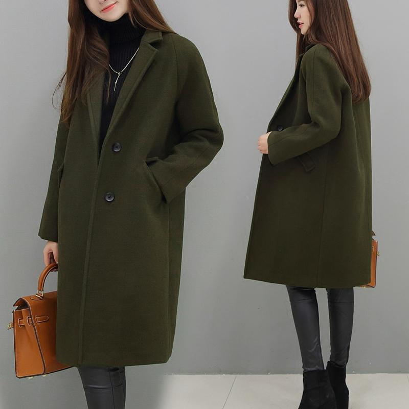 2016冬季军绿西装领加厚呢子大衣 宽松茧型过膝中长款毛呢外套女羊绒大衣