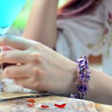 天然紫黄晶手链 女 转运旺情感紫水晶手串韩版刻面单圈生日礼物
